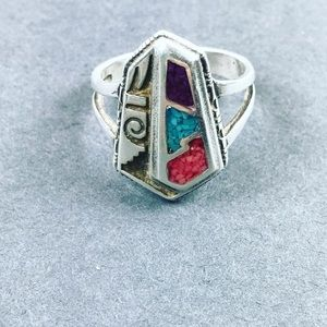 Vintage turquoise inlay boho Sterling silver ring